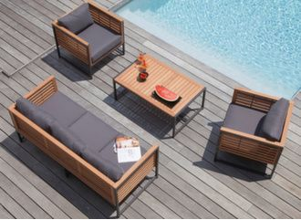 Ensemble détente Végas (canapé + 2 fauteuils + table basse)