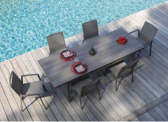 Table Téramo Trespa® 180/235 cm + 6 sièges Palma