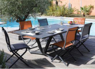 Table Aube 180/240 cm + 6 chaises Elégance