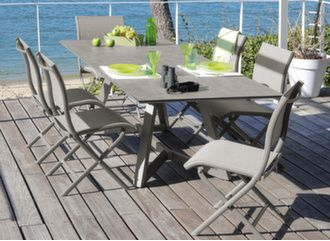 Table Agira Trespa® 180/240 cm + 6 chaises Elégance