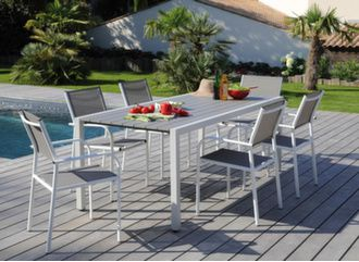 Table Dina 200 cm blanc taupe avec chaises
