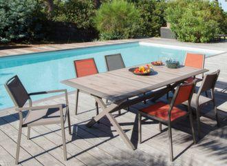 Table Céram 198 cm + 6 sièges Florence