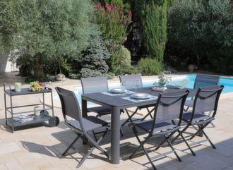 Table Eole Trespa® 180 x 90 cm + 6 chaises Elégance
