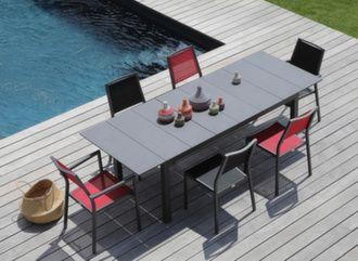 Table Tahaa 180/240 cm plateau Arpa + 6 chaises Florence