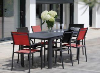 Table Eos 160/220 cm + 6 fauteuils Duca