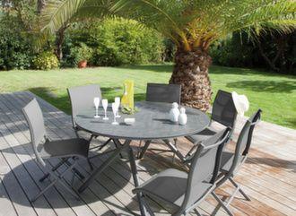 Table Loane Trespa® Ø 150 cm + 6 chaises Elégance