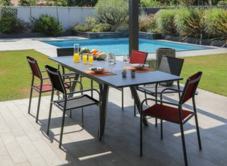 Table Agra 150/200/250 cm + 6 fauteuils Duca