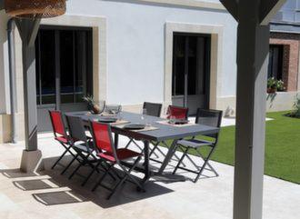 Table Vita 180/240 cm + 6 chaises Ida