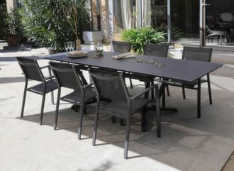 Table Vita 150/200/250 cm + 6 fauteuils Games