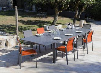 Table Elisa 220/320 cm + 6 chaises Delia