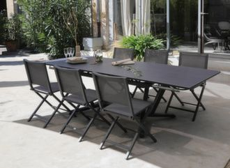 Table Vita 150/200/250 cm + 6 chaises Ida