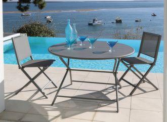 Guéridon Globe 120 cm + 4 chaises pliantes Ida