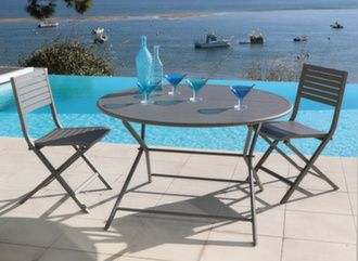 Guéridon Globe 120 cm + 4 chaises pliantes Lucca