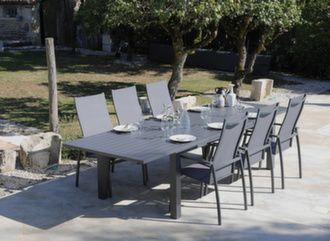 Table Elisa 220/320 cm + 6 fauteuils Fusion