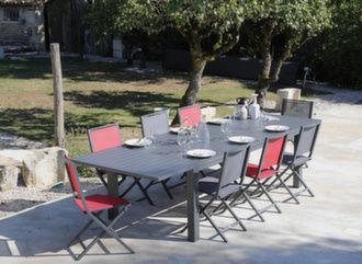 Table Elisa 220/320 cm + 6 chaises Ida