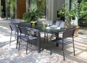 Table Elise 140/240 cm + 6 fauteuils Duca