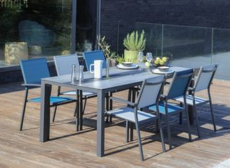 Table Galléo Fundermax® 200 cm + 6 fauteuils Games