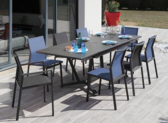 Table Vita Kedra® 150/200/250 cm + 6 assises Delia