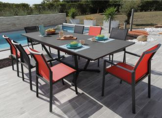 Table Vita Kedra® 180/230/280 cm + 6 assises Delia