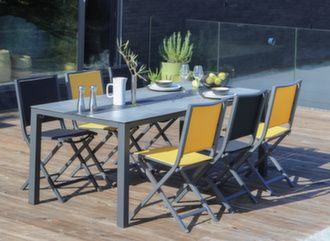 Table Galléo Fundermax® 200 cm + 6 chaises Ida