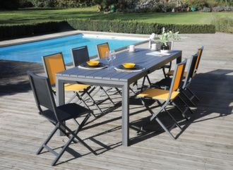 Table Elena II 190/260 cm + 6 chaises Ida