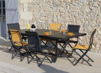 Table Vita Kedra® à lames 180/240 cm + 6 chaises Elégance