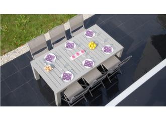 Table Aurore 214/311 cm + 8 sièges Elégance