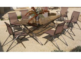Table Riviera 240 cm, plateau verre