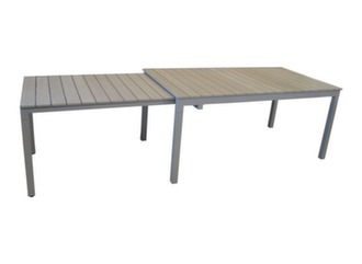 Table extensible sur roues 170/290 cm, alu/polywood