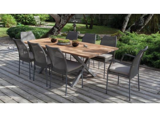 Salon jardin table crossway 6 chaises 2 fauteuils oc o for Ambiance tables et chaises reims