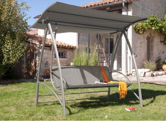 Balancelle de jardin alu et textil ne gris proloisirs - Balancelle de jardin en aluminium ...