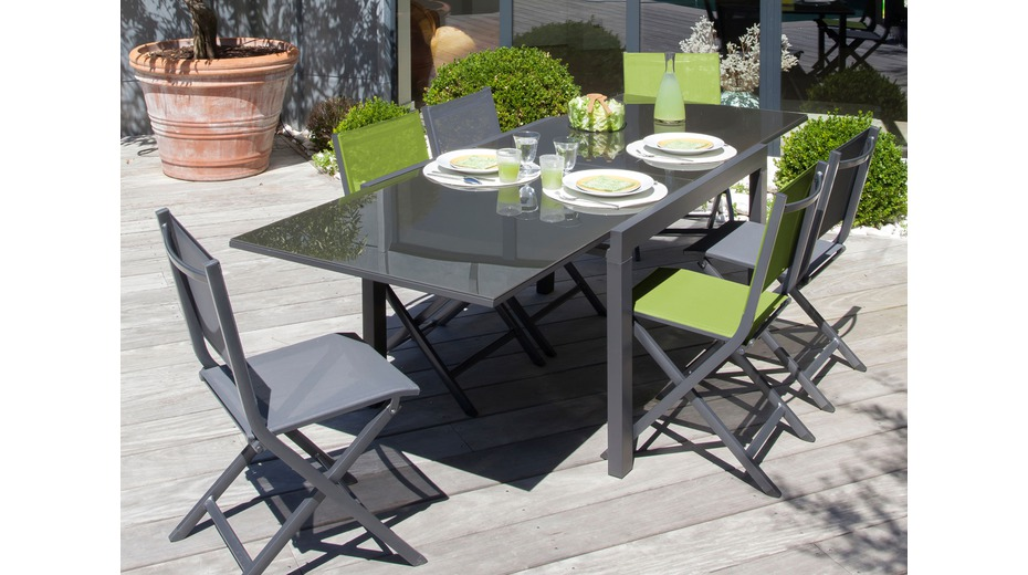 table elise grey sand gris tables de jardin proloisirs sp cialiste du mobilier de jardin. Black Bedroom Furniture Sets. Home Design Ideas